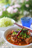 Rice noodles with spicy pork sauce. Thai food Royalty Free Stock Image