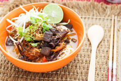 Rice noodles with spicy pork sauce Stock Photography