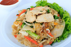 Rice Noodles Stir-fried with Chicken. Thai Street Food. Royalty Free Stock Image