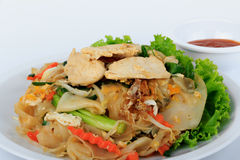 Rice Noodles Stir-fried with Chicken. Thai Street Food. Stock Photos