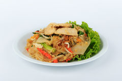 Rice Noodles Stir-fried with Chicken. Thai Street Food. Royalty Free Stock Photos