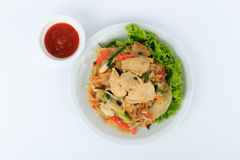 Rice Noodles Stir-fried with Chicken. Thai Street Food. Royalty Free Stock Images
