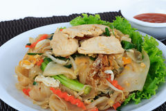 Rice Noodles Stir-fried with Chicken. Thai Street Food. Stock Image