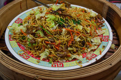 Rice noodles stir-fried Hong Kong J,Vegetarian food. Royalty Free Stock Images