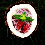 Rice noodles with strawberry. In coconut on the grass Stock Images