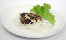 Rice noodles with vegetables and cheese Royalty Free Stock Image