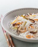 Rice noodles with vegetables, mushrooms and meat Royalty Free Stock Photography