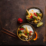 Rice noodles with vegetables and mushrooms Stock Photo