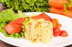 Rice och lax Fotografering för Bildbyråer