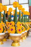 Rice offering on the table. Art from banana leaf and flower , rice offering , Tradition of Thailand Royalty Free Stock Photos