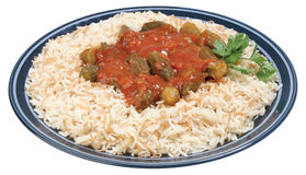 Rice with Okra Royalty Free Stock Photo