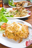 Rice with omelet and thai papaya salad Royalty Free Stock Photography