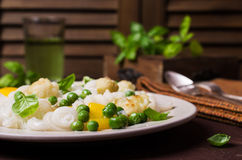 Rice organic pasta. With vegetables and cheese. Selective focus royalty free stock image