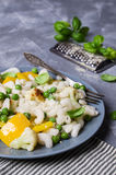 Rice organic pasta. With vegetables and cheese. Selective focus stock images