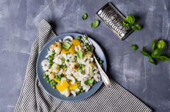 Rice organic pasta. With vegetables and cheese. Selective focus royalty free stock images