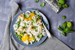 Rice organic pasta. With vegetables and cheese. Selective focus stock photo