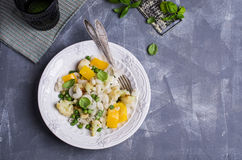 Rice organic pasta. With vegetables and cheese. Selective focus royalty free stock photo
