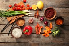 Rice and other products. On wooden table Stock Images