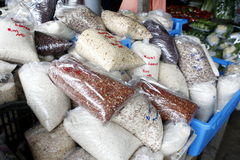 Rice packed in a plastic bag Stock Images