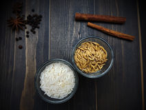 Rice and paddy in the glass Royalty Free Stock Images