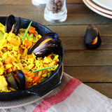 Rice paella with mussels Royalty Free Stock Photo
