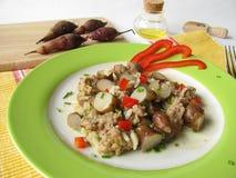 Rice pan with topinambur Royalty Free Stock Image