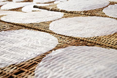 Rice paper. Drying at a bamboo frame stock image