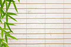 Rice paper background with bamboo leaves. Background ofrice paper  blinds with bamboo leaves Stock Photo
