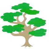 Rice paper cut big tree Stock Image