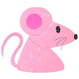 Rice paper cut cute pink rat Royalty Free Stock Photo