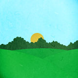 Rice paper cut green field and trees Stock Photo