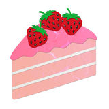 Rice paper cut pink strawberry cake Stock Photos
