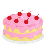 Rice paper cut pink strawberry cake Stock Images