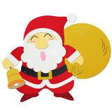 Rice paper cut Santa Claus carrying sack. On white background royalty free stock photos
