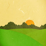 Rice paper cut sunset landscape Royalty Free Stock Images