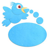 Rice paper cut Talking Blue Bird Stock Photography