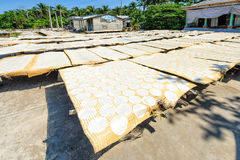 Rice paper drying in vietnam Royalty Free Stock Image