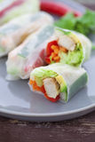 Rice paper rolls. With chicken and dipping sauce Stock Photo