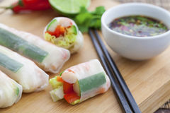 Rice paper rolls. With prawns and dipping sauce Royalty Free Stock Images