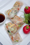 Rice paper rolls. With sauce Stock Photography