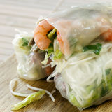 Rice Paper Rolls. With shrimp and beanshoots Royalty Free Stock Image
