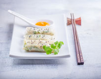 Rice Paper Rolls. Spring Rolls with Sauce Oriental cuisine on white plate Royalty Free Stock Photo