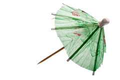 Rice paper umbrella decoration. For cocktail glass, isolated Royalty Free Stock Photos