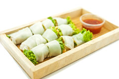 Rice paper wrapped vegetable with vermicelli noodles Royalty Free Stock Images