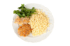 Rice with parsley and chop. Lunch is rice with chop parsley and Royalty Free Stock Photo