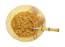 Rice Pasta Serving Bowl Spoon Top View Royalty Free Stock Image