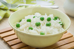Rice with pea in bowl Royalty Free Stock Photography