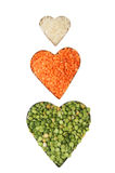 Rice pea lentil hearts Stock Photography