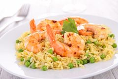 Rice,pea and shrimp Stock Image