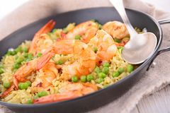 Rice,pea and shrimps Stock Photography